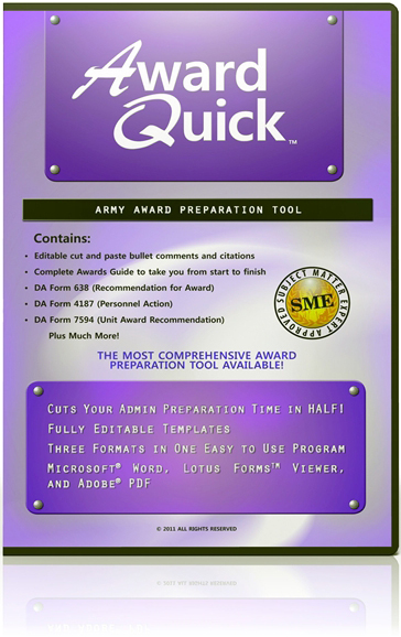 Award Quick: US Army Award Preparation Software (Windows)