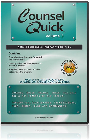 Counsel Quick: Volume 3, US Army Counselling Preparation Software (Windows)